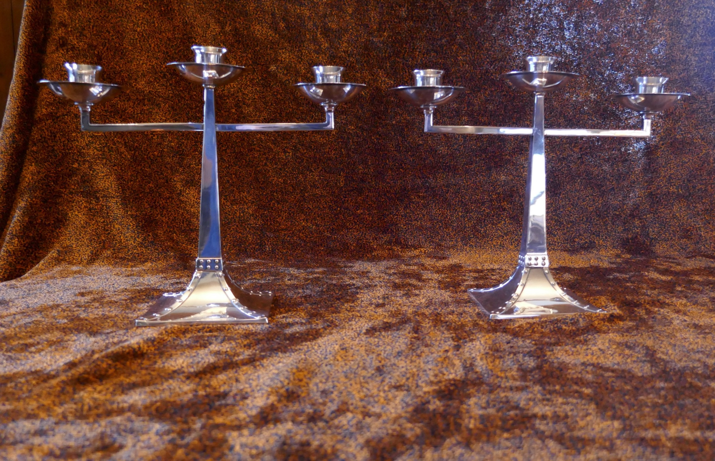 a pair of james dixon sons threebranch silver plated arts crafts candelabra