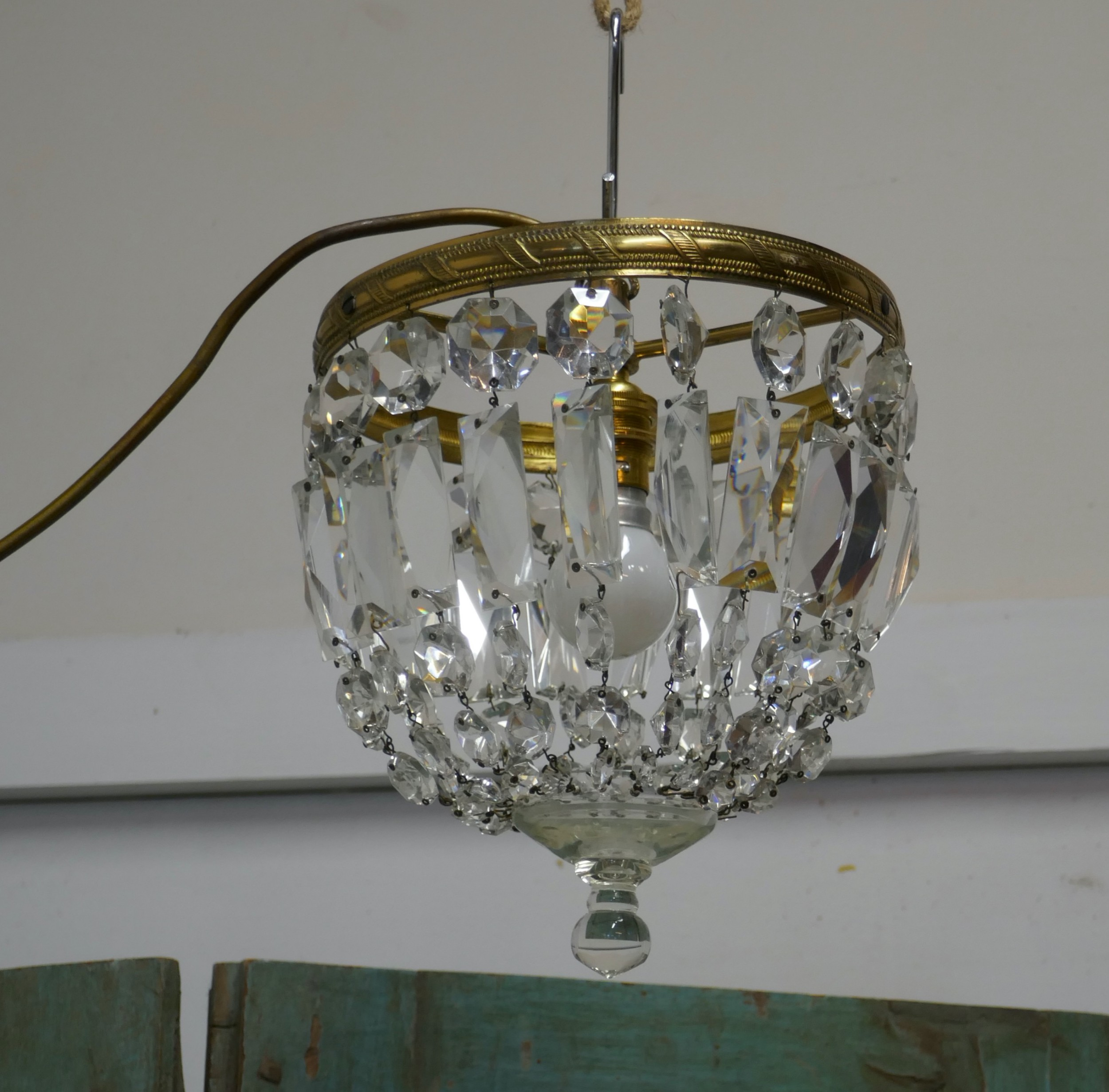 small french empire style crystal basket chandelier