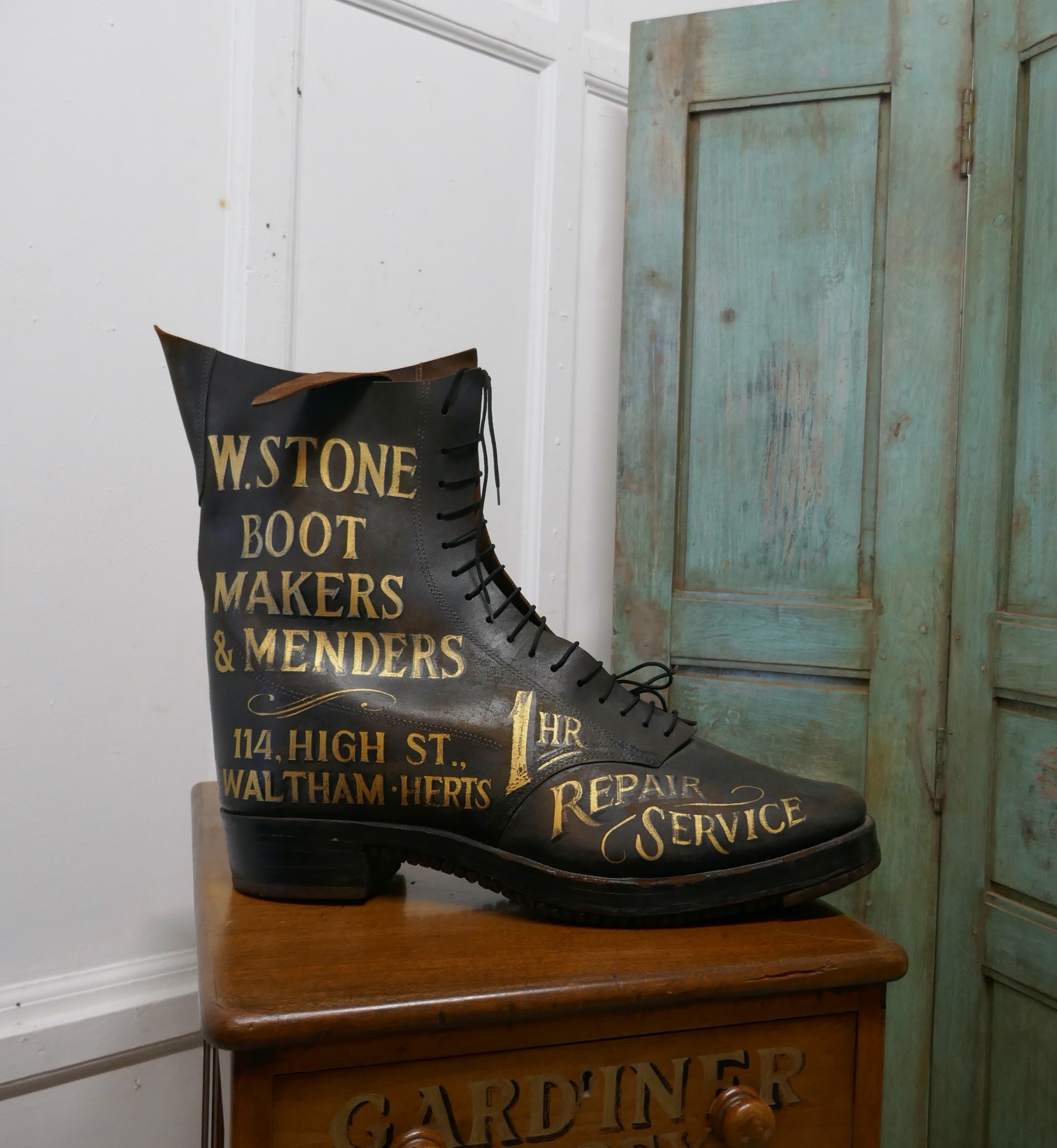 edwardian shoe shop or cobblers trade sign leather boot display model