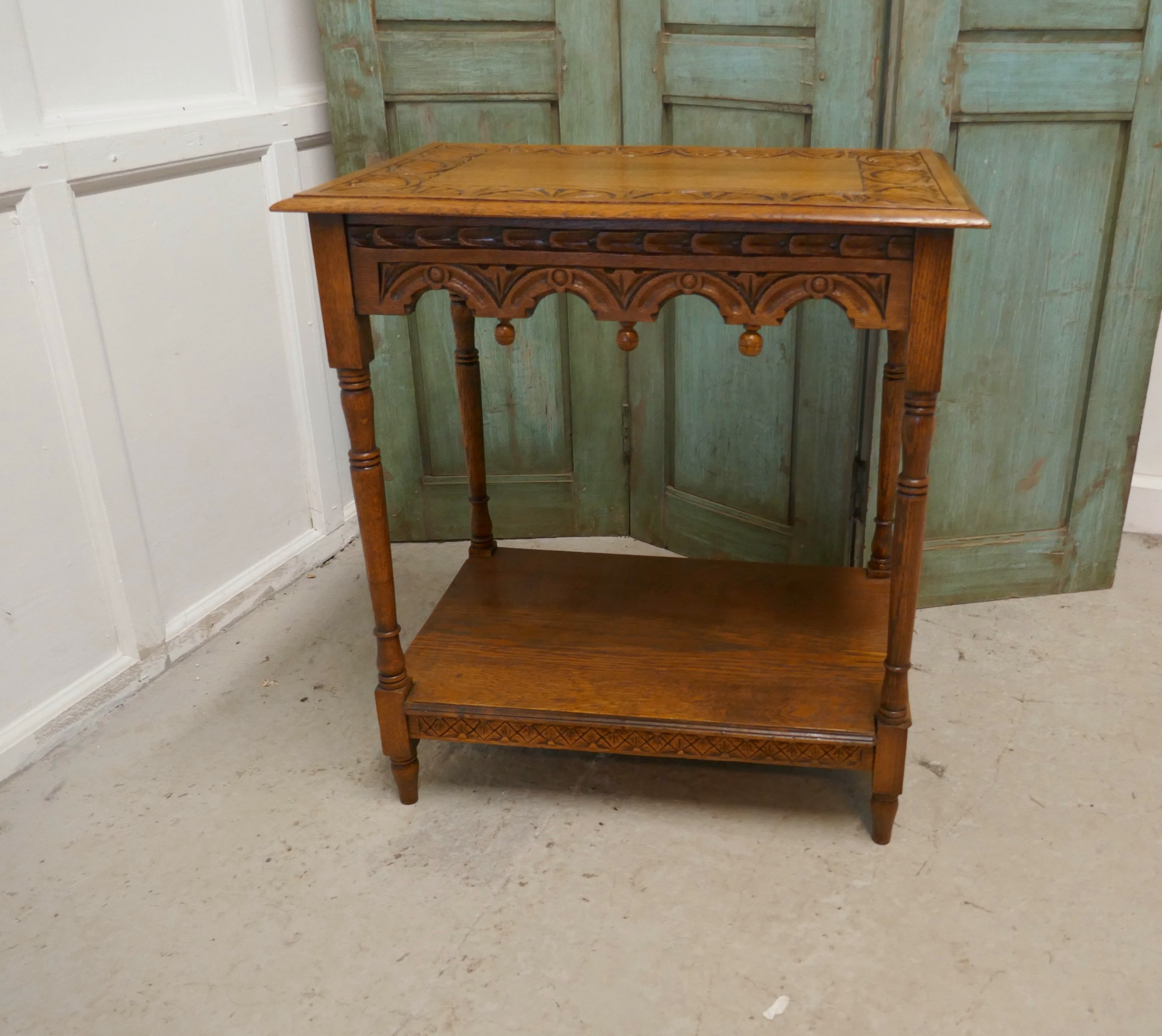 late victorian golden oak carved occasional side table