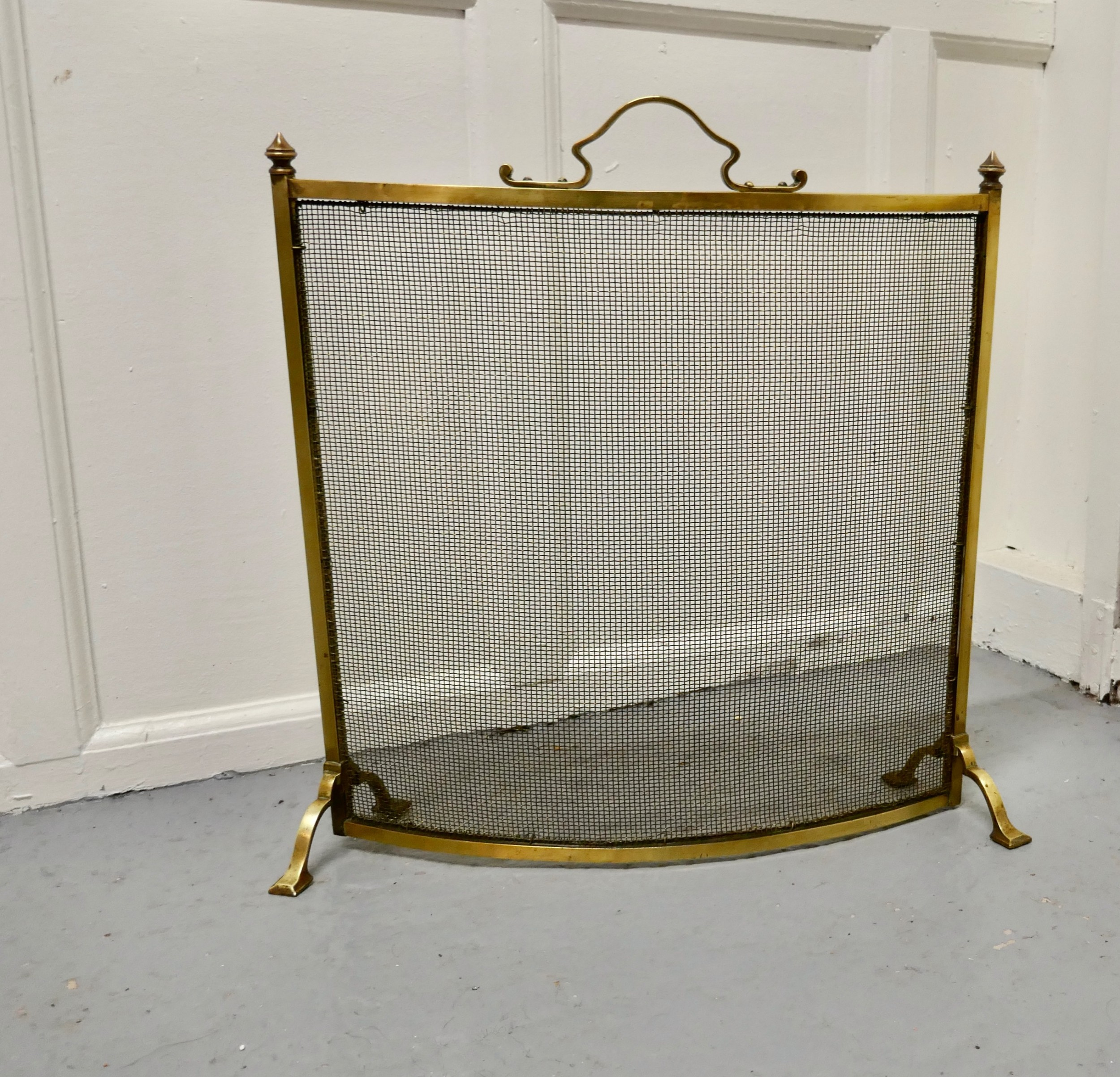 victorian arts and crafts curved brass fire guard spark screen