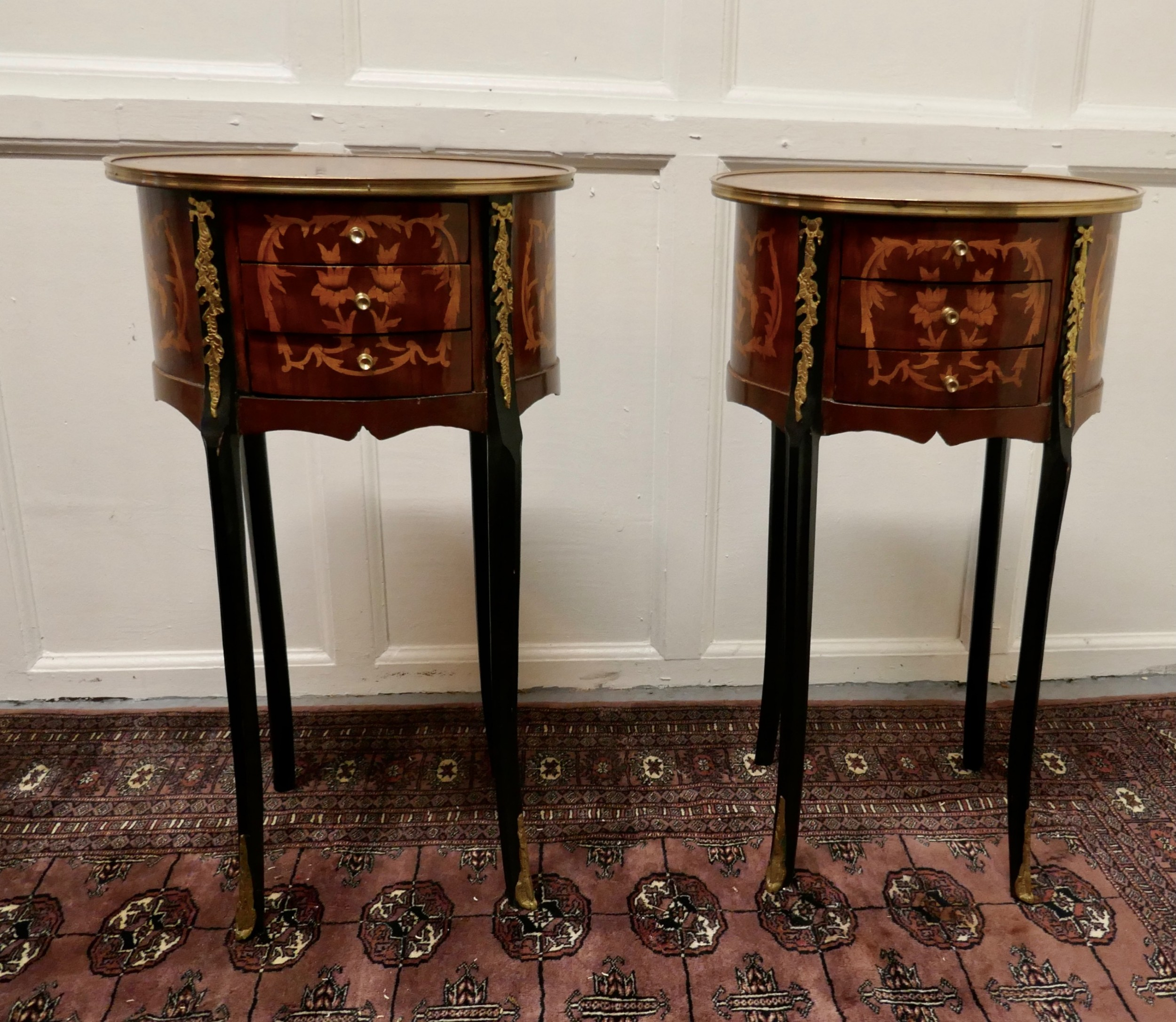 a pair of french 19th century inlaid side tables or bedside cabinets