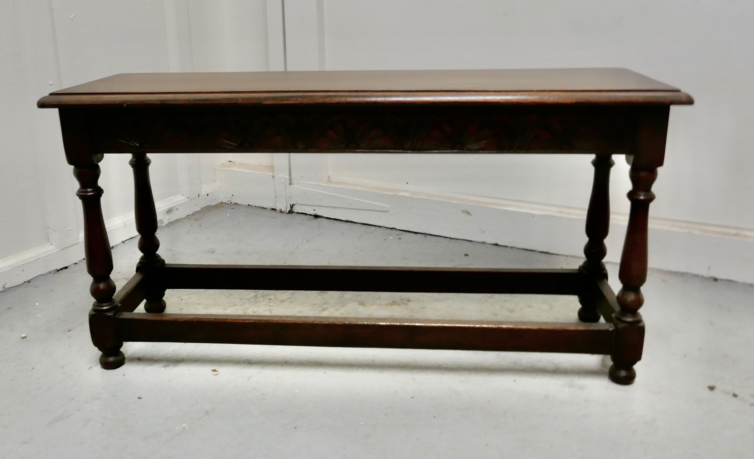victorian carved country oak joint style window seat