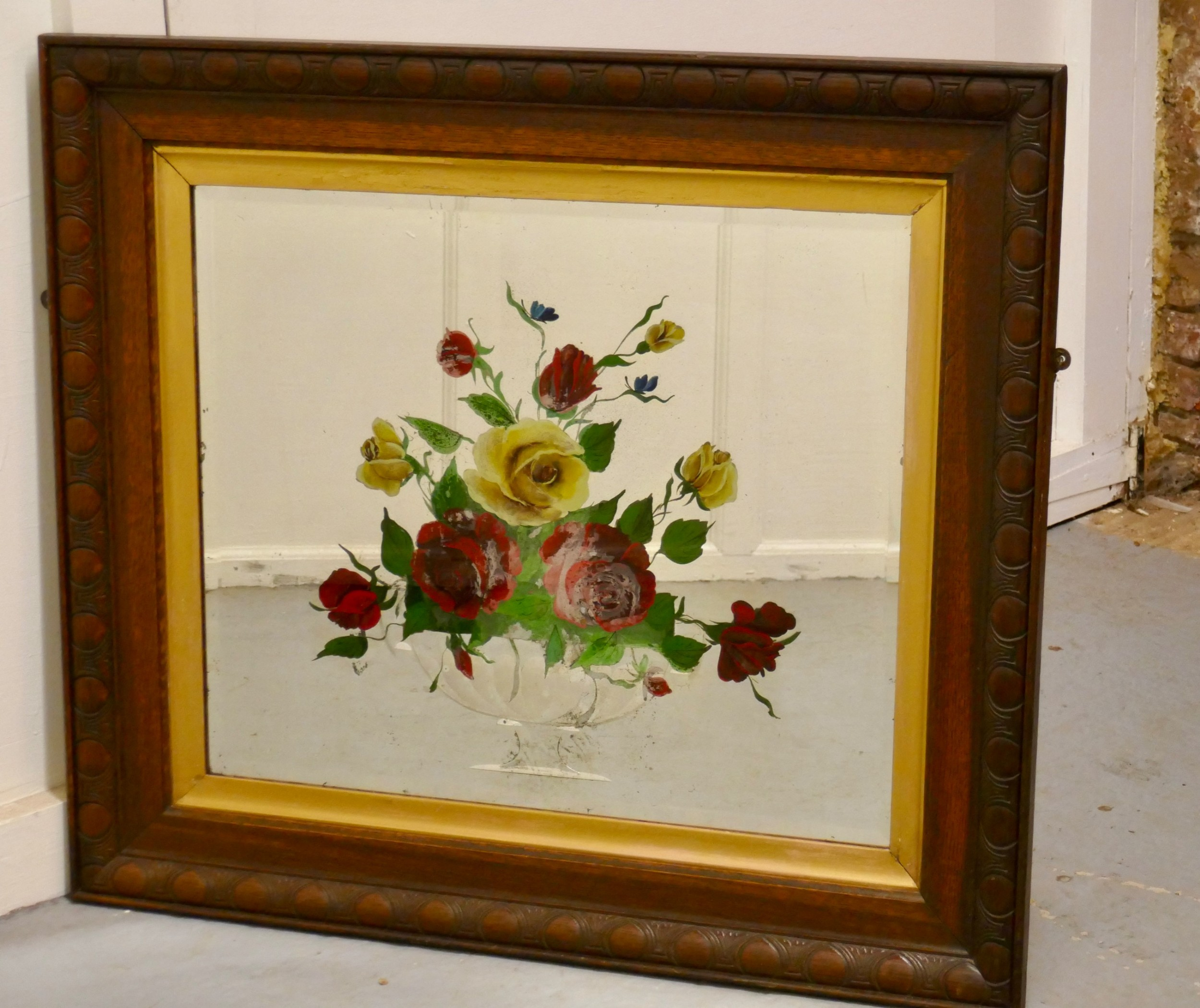 victorian reverse painted mirror decorated with roses