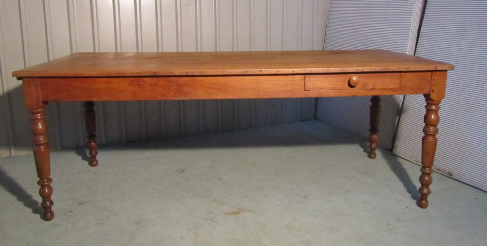 large 19th cherry wood farmhouse kitchen table