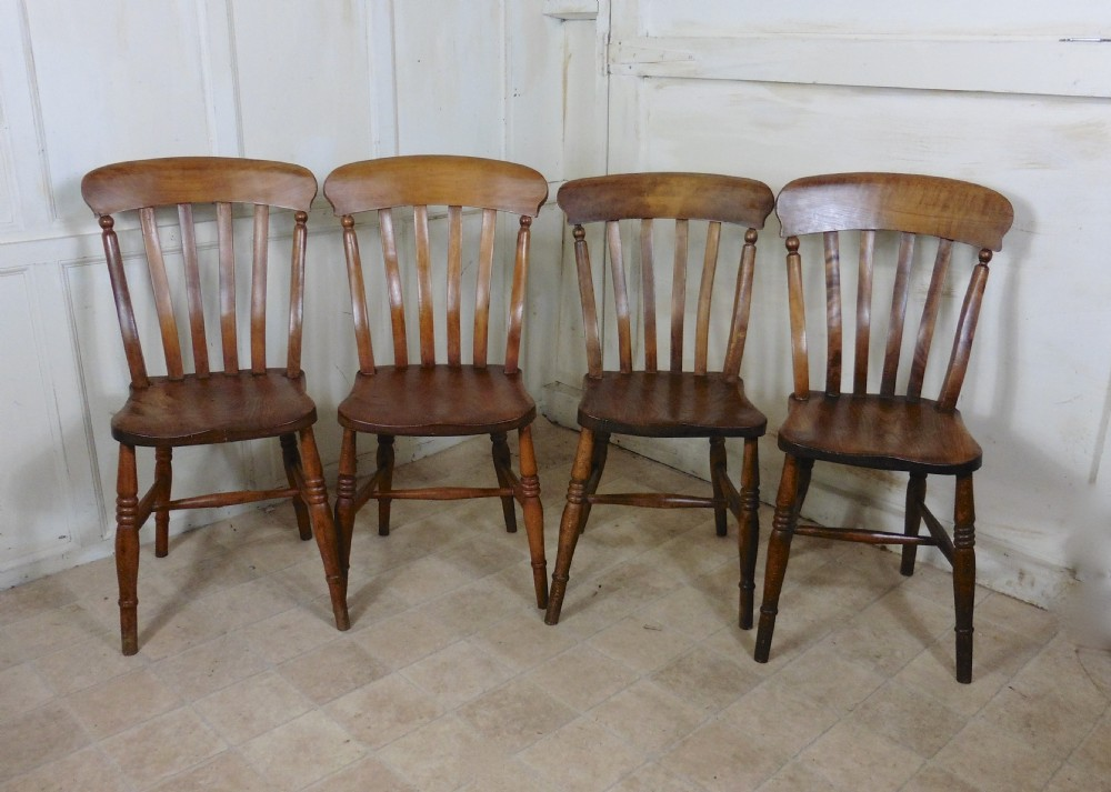 Set Of 4 Beech Elm Country Kitchen Dining Chairs 322171