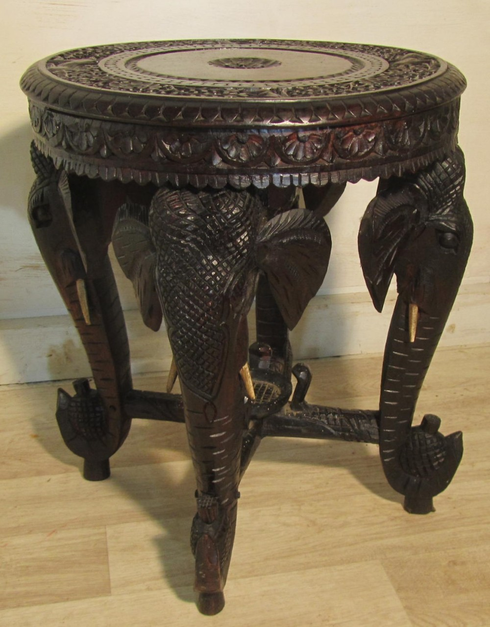 Superb carved elephant table occasional coffee table 252034 Elephant coffee table
