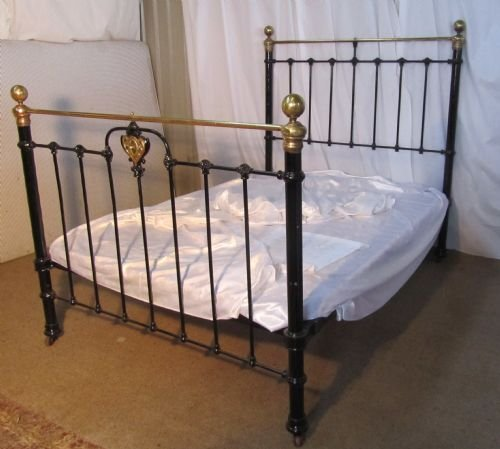 victorian art nouveau brass and iron double bed