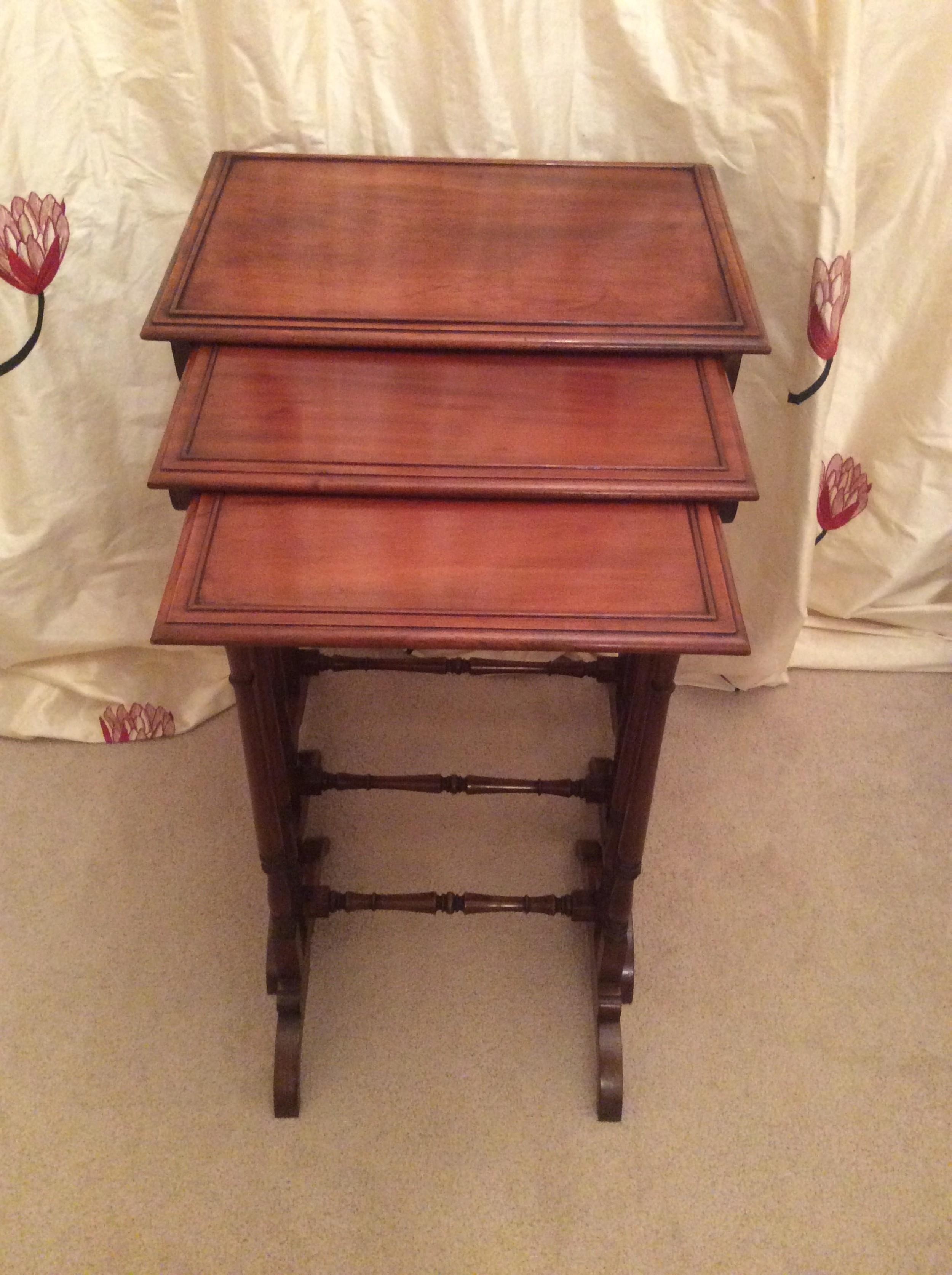 nest of 19th century mahogany three tables