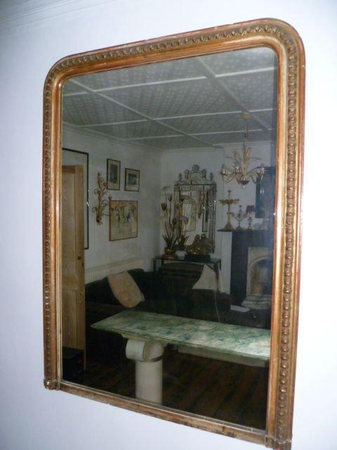 Large Antique French Gilded Overmantle Mirror 107163