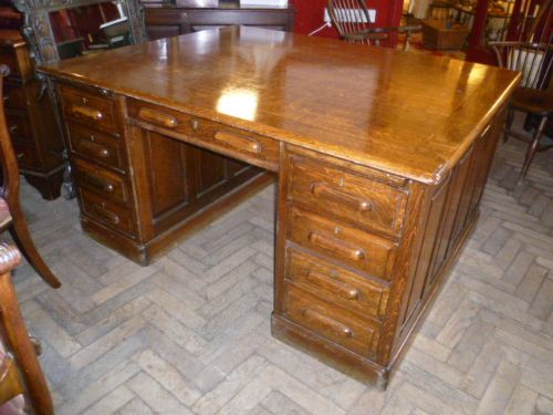 antique oak partners desk - Antique Oak Partners Desk 189200 Sellingantiques.co.uk