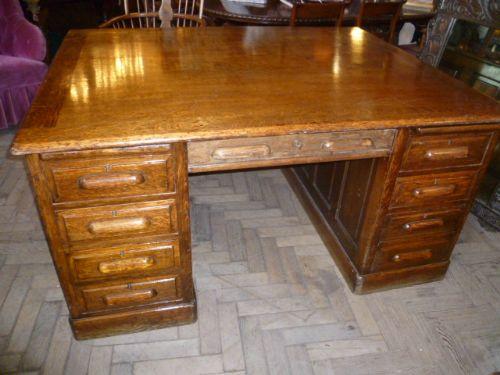 SOLD - Antique Oak Partners Desk 189200 Sellingantiques.co.uk