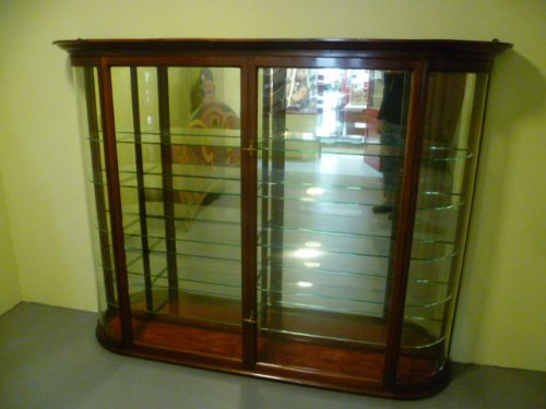 good quality antique mahogany bow fronted glass wall mounted shop display  cabinet - Good Quality Antique Mahogany Bow Fronted Glass Wall Mounted Shop