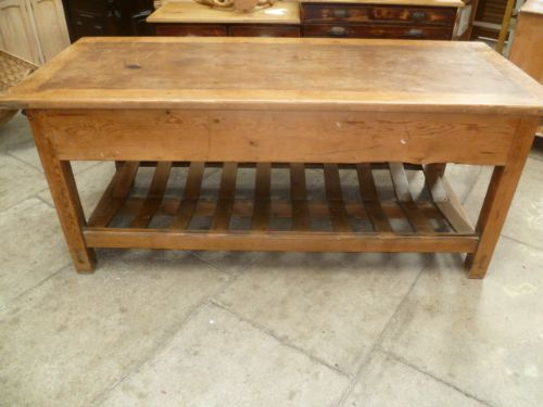Antique Pine Mill Table Kitchen Island 236890