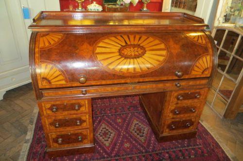 decorative victorian inlaid burr walnut cylinder roll top desk antique photo
