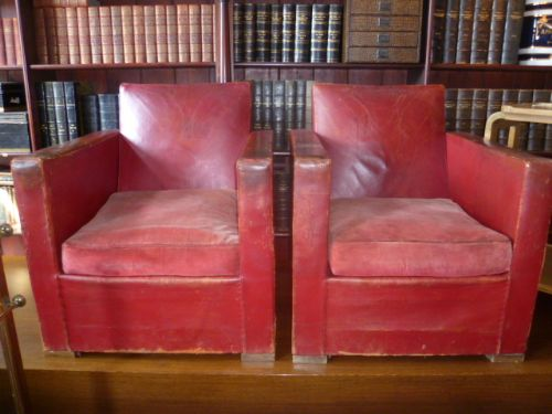 Pair Of Antique Red Leather Art Deco Club Chairs 272726