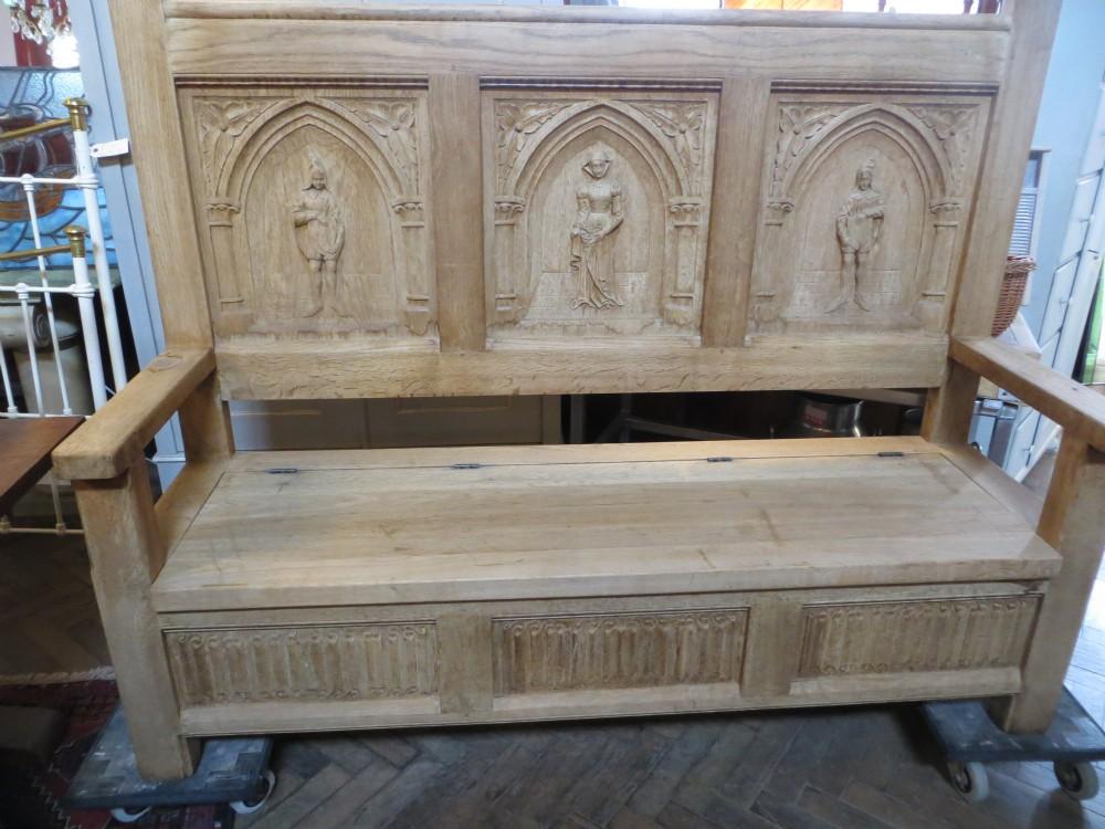 Decorative Antique Bleached Oak Settle  270148  Sellingantiques.co.uk