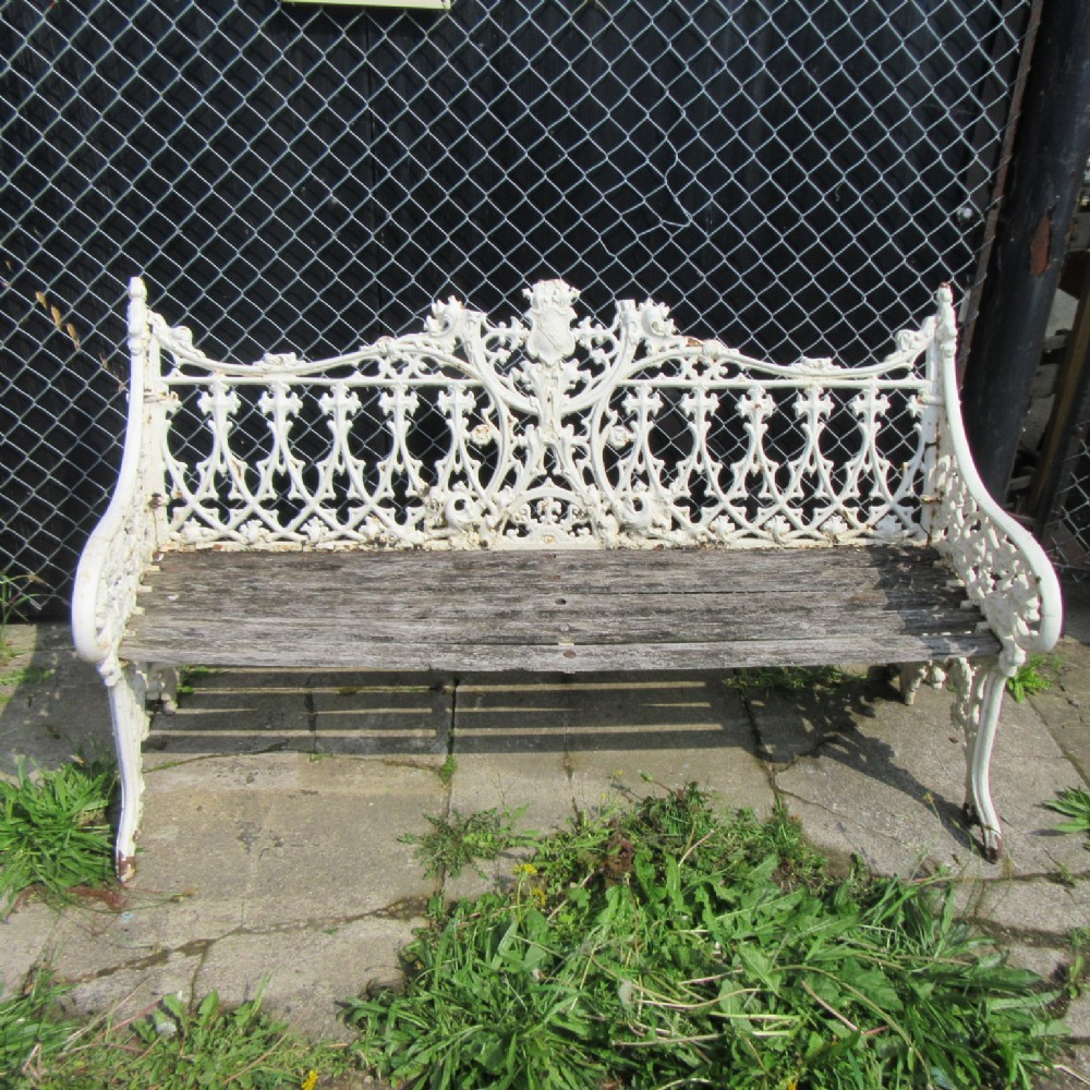 Antique Victorian Cast Iron Garden Bench Seat 407638