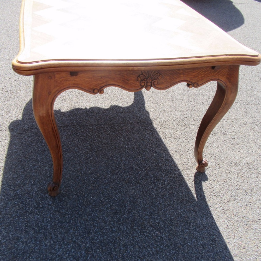 French Oak Parquetry Topped Draw Leaf Dining Table 424360