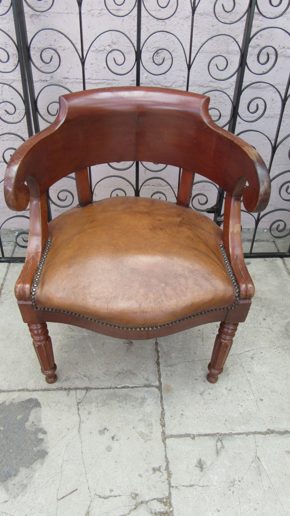 antique french mahogany leather office chair 541961