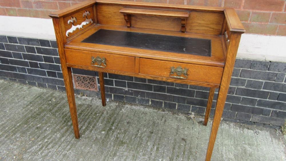 antique oak arts crafts writing desk