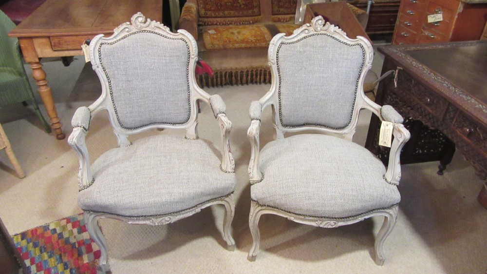 pair of antique french painted parlour chairs