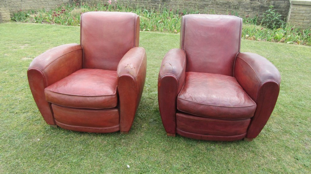 pair of antique french leather club chairs