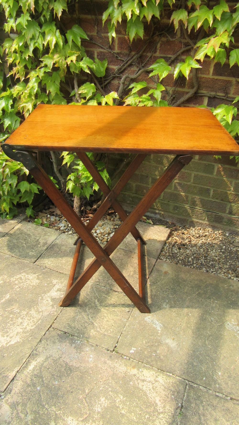 antique oak folding campaign table
