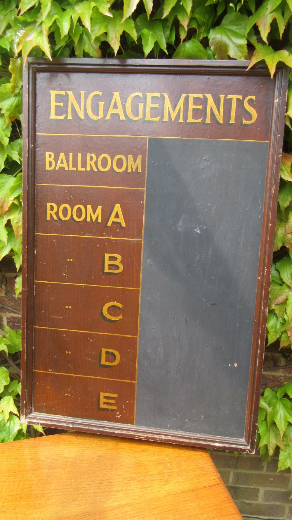 antique ballroom engagements black board