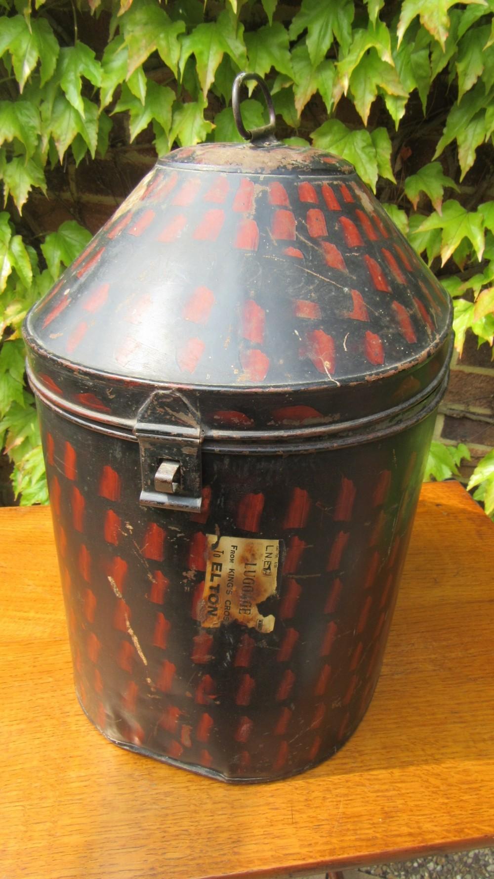 antique military hat tin box