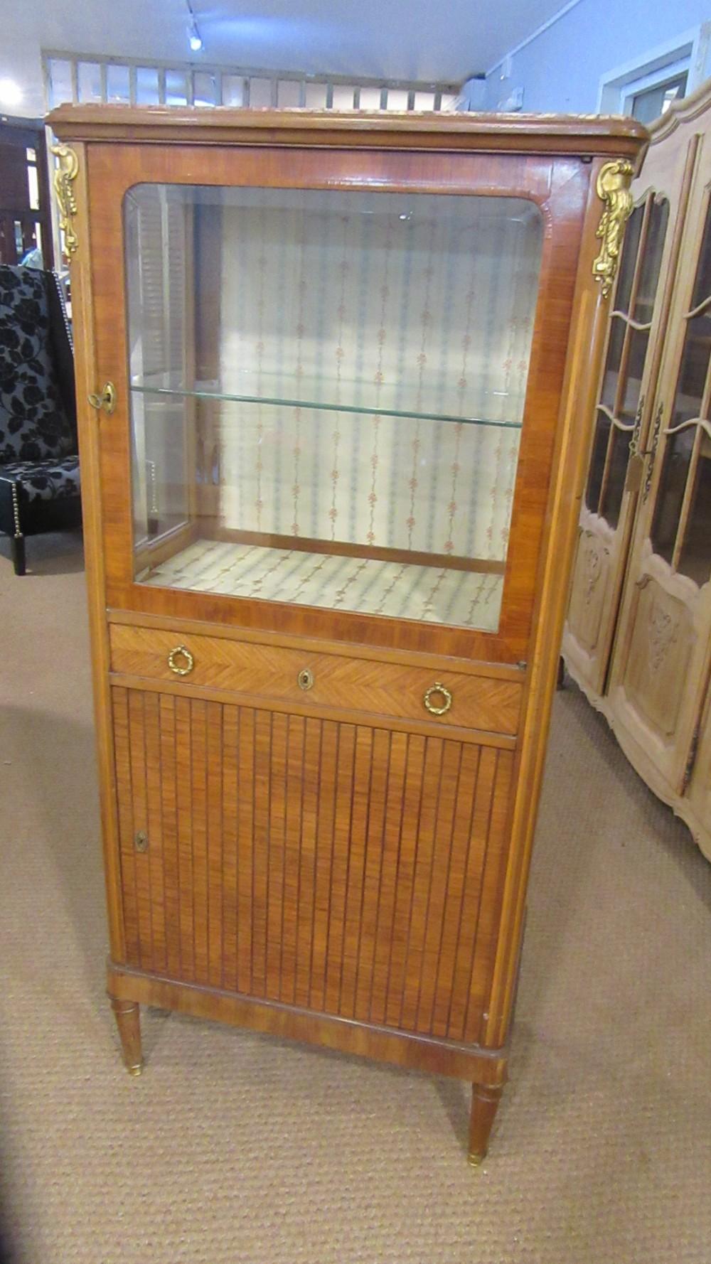 antique walnut kingwood display cabinet