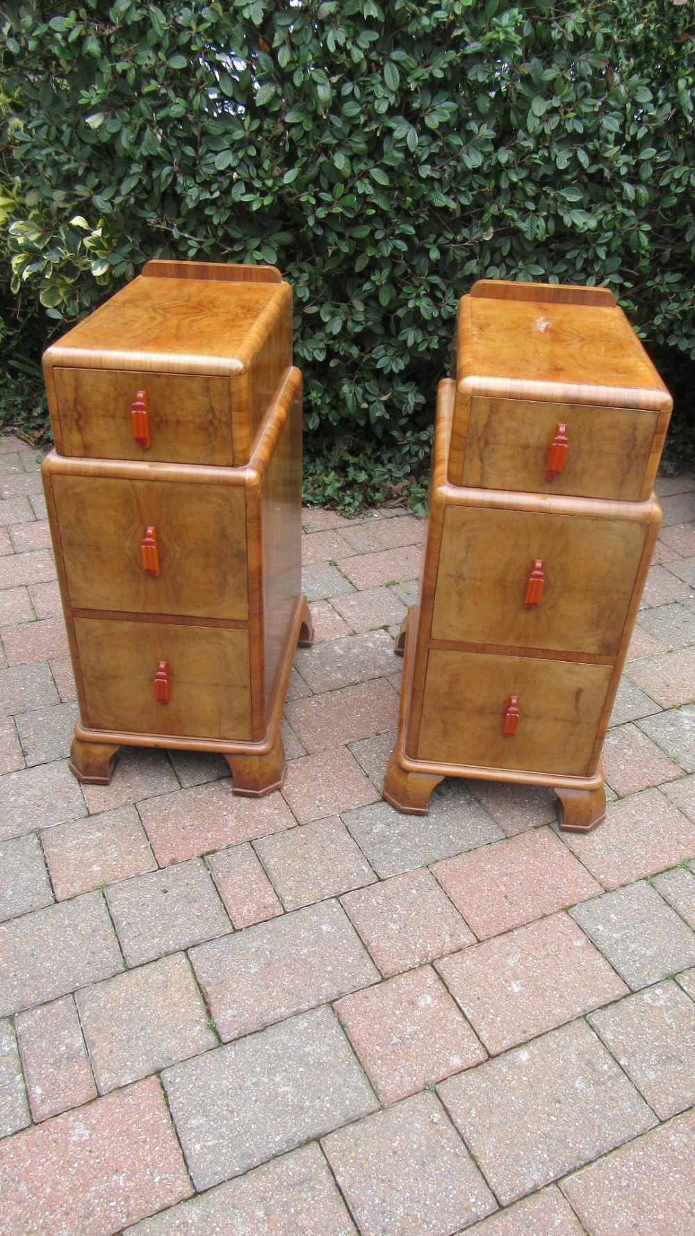 pair of antique art deco walnut bedside chests