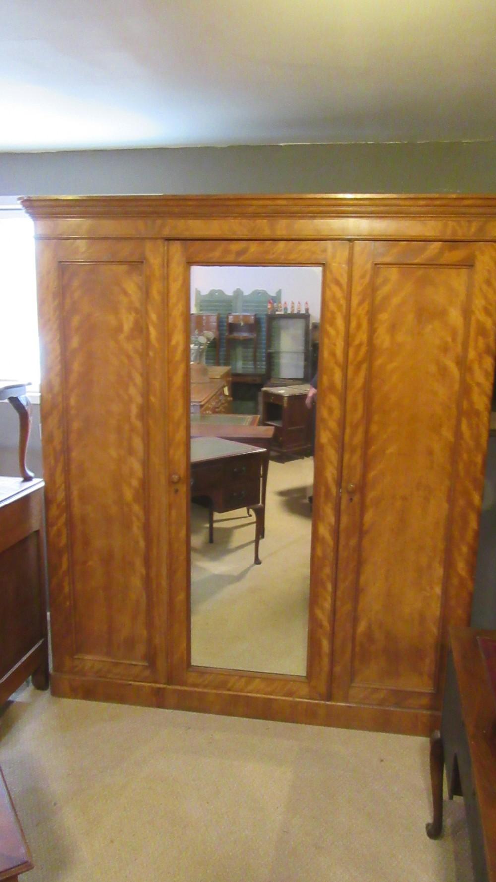 antique victorian satin wood compactum wardrobe