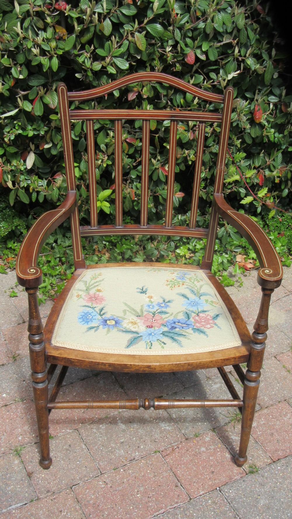 antique victorian inlaid armchair