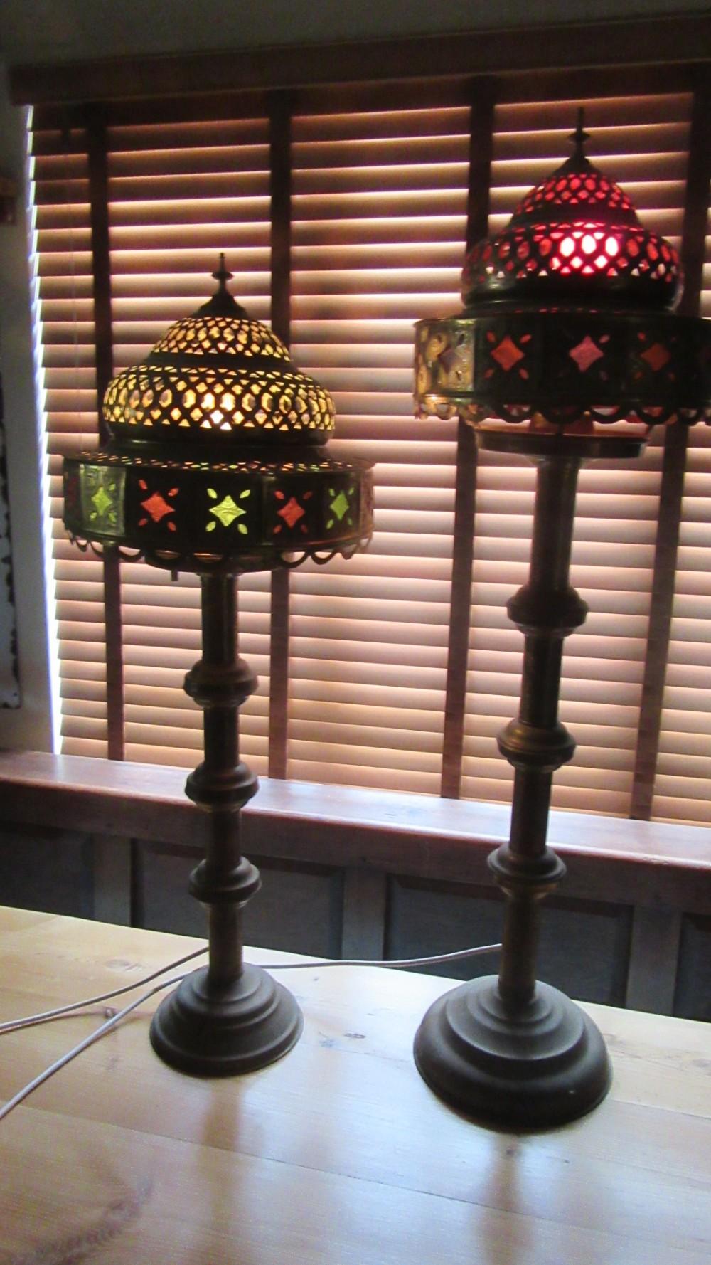 two large decorative antique moorish table lamps