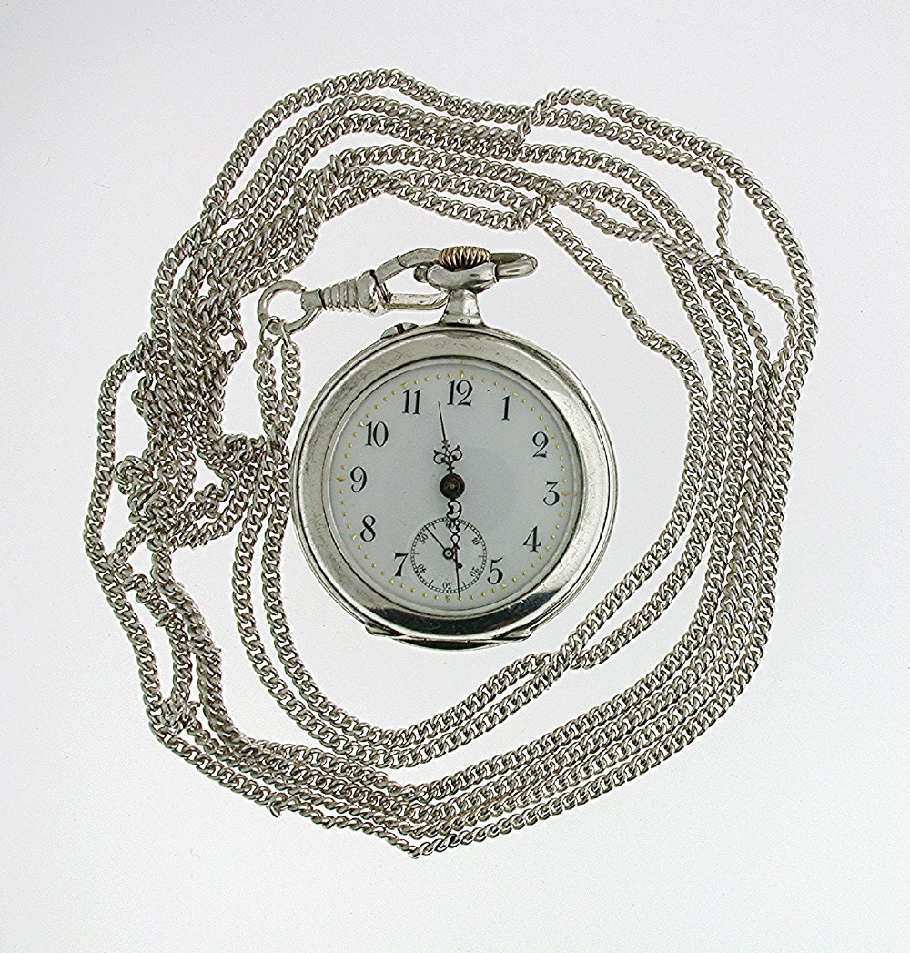 unique silver 0800 open face fob pocket watch with lecoultre movement swiss 1910