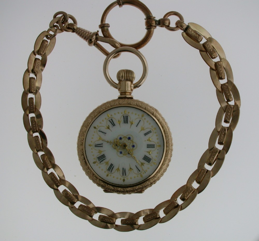gold filled waltham open facepocket watch usa 1900 with chain