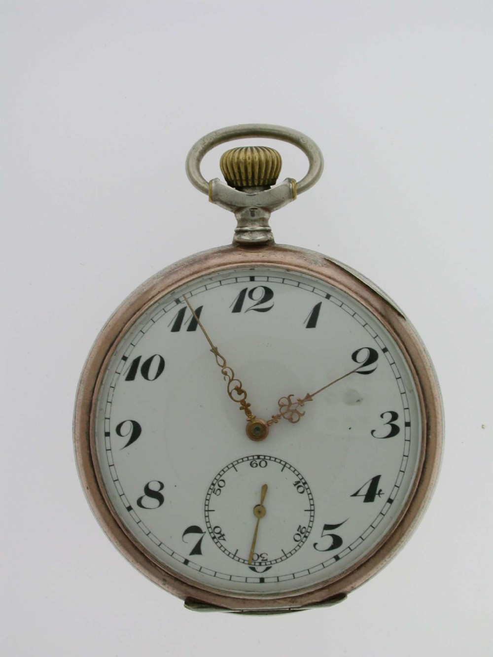 silver 0800 open face pocket watch swiss 1920