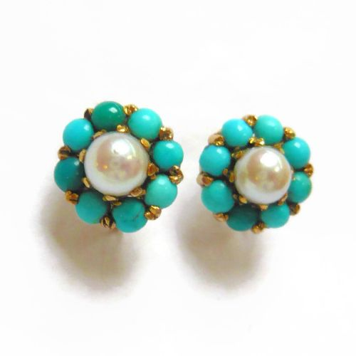 f6f151b72e3a9 Vintage 9ct Gold Turquoise   Pearl Cluster Earrings