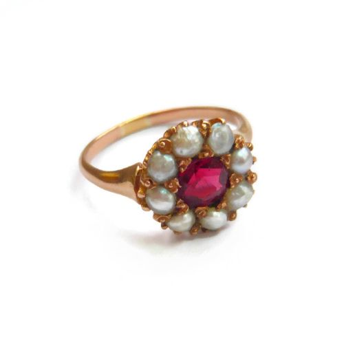 victorian red spinel pearl cluster ring