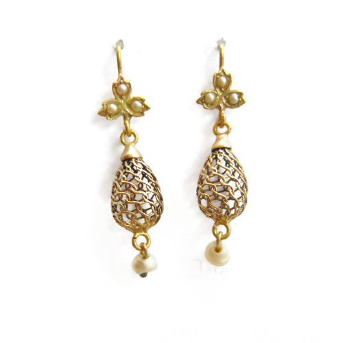 victorian gold mesh pearl drop earrings