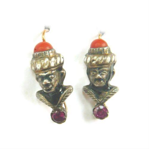 victorian blackamoor earrings with coral garnet