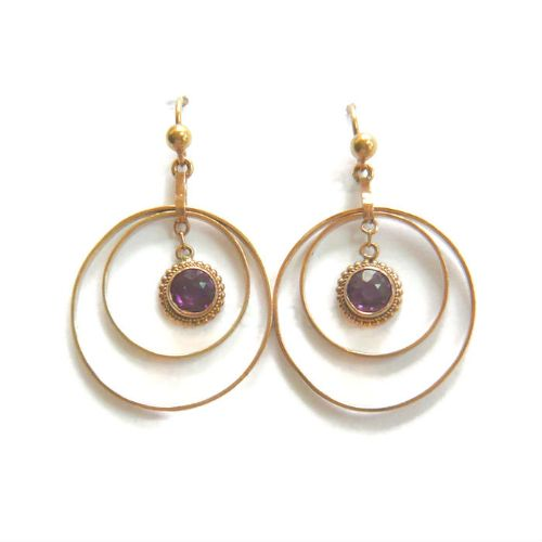 art deco 9ct gold circle earrings
