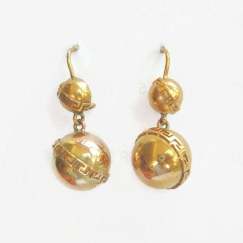victorian 15ct gold greek key ball earrings