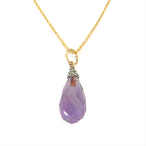 victorian 9ct gold amethyst drop pendant with diamonds