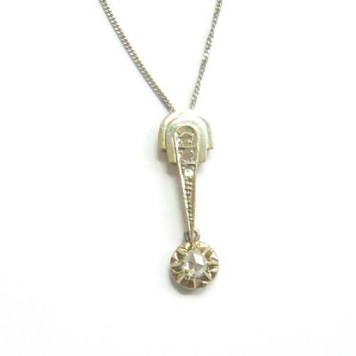 art deco rose diamond white gold pendant