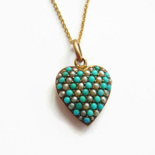 victorian 9ct gold pave turquoise pearl heart pendant