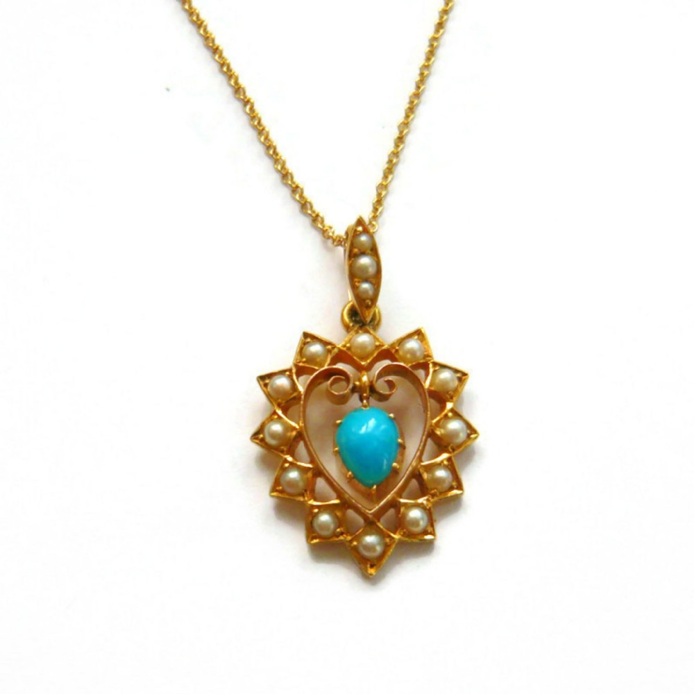 edwardian 15ct gold turquoise pearl heart pendant