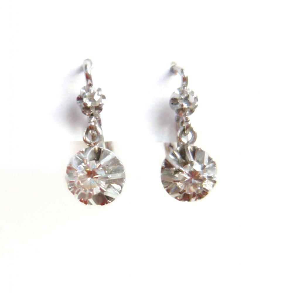 art deco 18kt white gold french diamond drop earrings