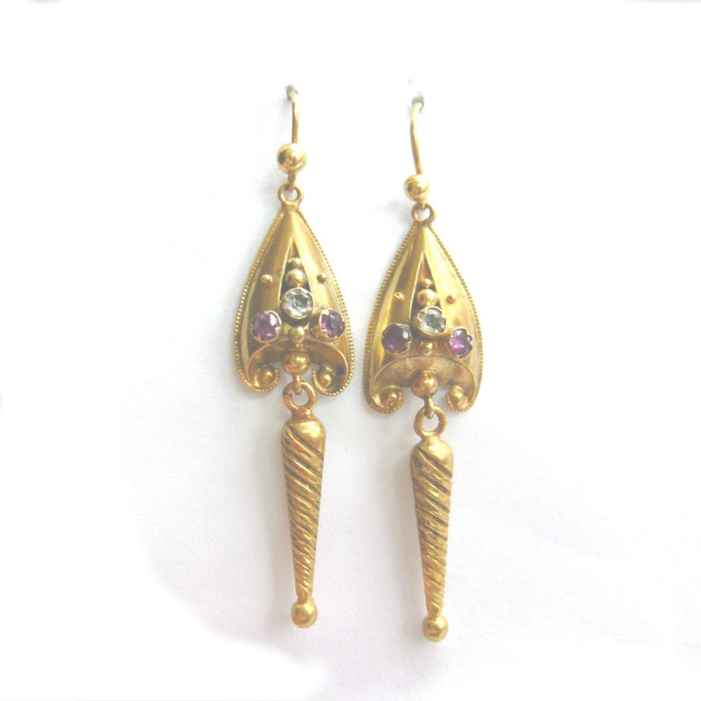 victorian 15ct gold paste stone drop earrings